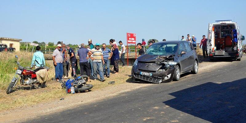 Otomobil çarpan motosikletli anne-oğul yaralandı