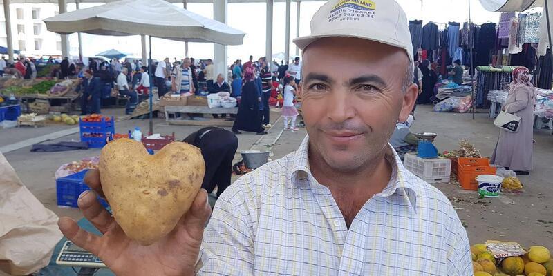 Kalp şeklindeki patates ilgi çekti
