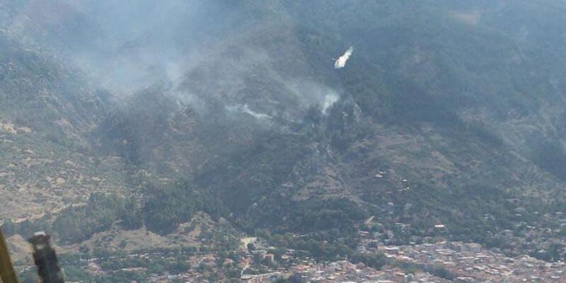 Manisa'da bozuk orman alanında yangın (1)