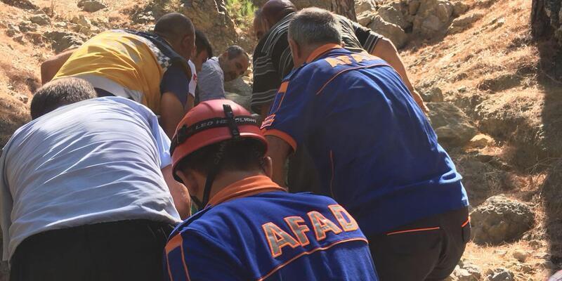 Katır sırtından uçuruma yuvarlanan kadını AFAD kurtardı