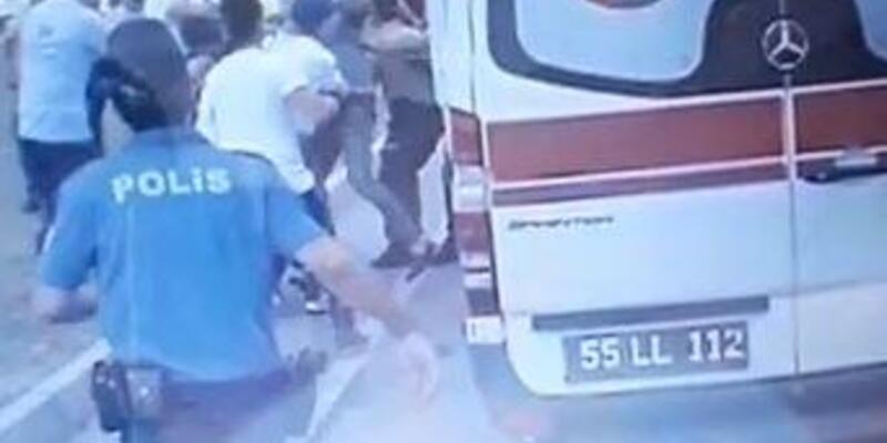 112 görevlisine saldırı anı kamerada