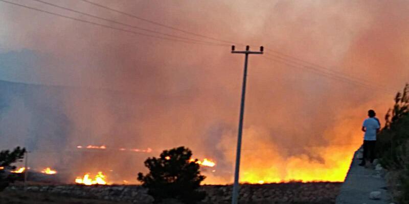 Silifke'de çalılık yangını
