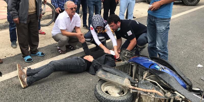 Forkliftle çarpışanmotosikletliyaralandı