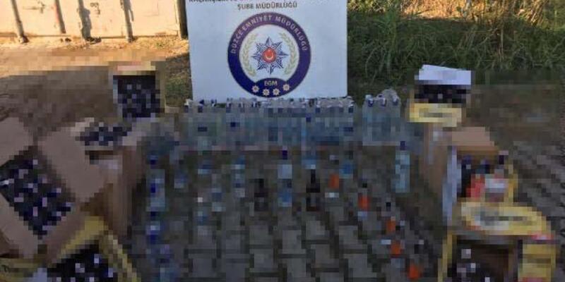 Düzce'de 250 şişe kaçak içki ele geçirildi