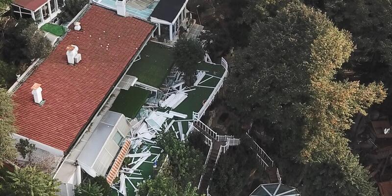 Adnan Oktar'ın villasında yıkılan bölümler havadan fotoğraflandı