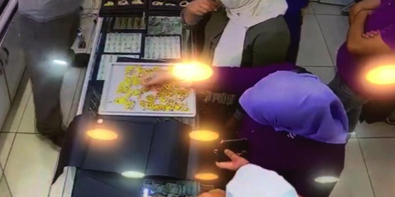 Kuyumcudan altın çalan 3 kadın, güvenlik kamerasından yakalandı