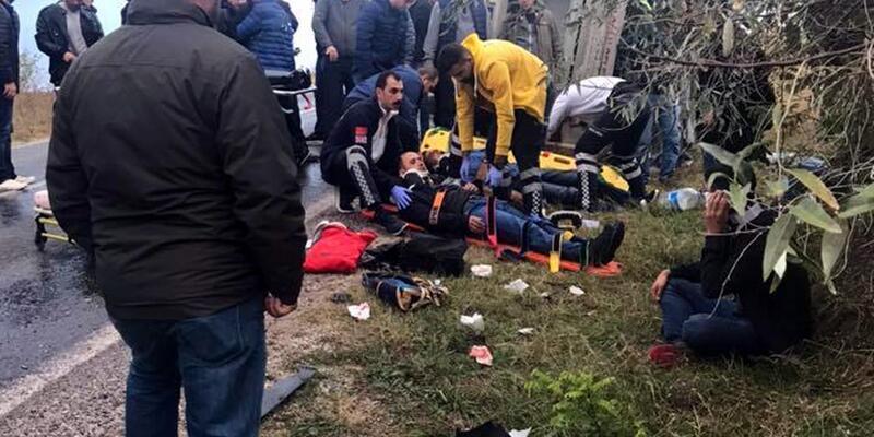 Edirne'de askerleri taşıyan servis kaza yaptı: 13 yaralı