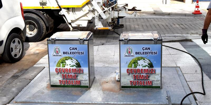 Çan'da çöp konteynerleri yer altına yerleştirildi
