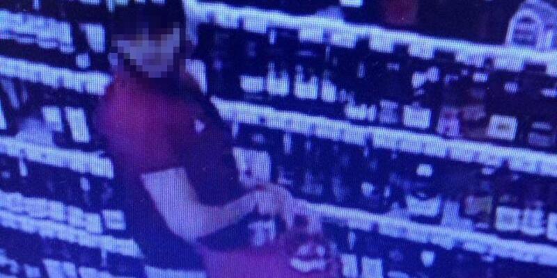 Viski hırsızlığı şüphelisi güvenlik kameralarına yakalandı