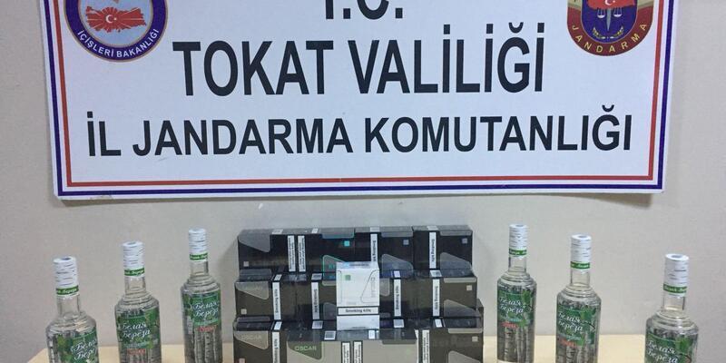 Tokat'ta Jandarmadan kaçak içki ve sigara operasyonu