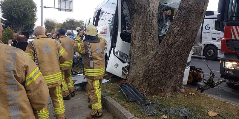 Bakırköy'de midibüs ağaca çarptı: çok sayıda yaralı var (1)