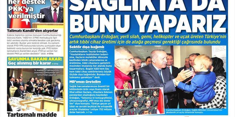 8 Kasım 2018 - Gazete manşetleri