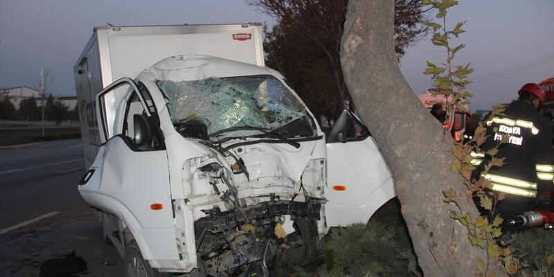 Kamyonet ağaca çarptı; sürücü araçta sıkıştı