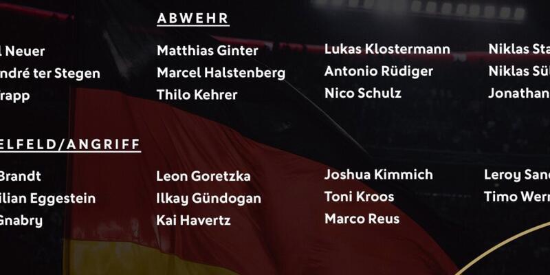 Almanya'nın aday kadrosu açıklandı