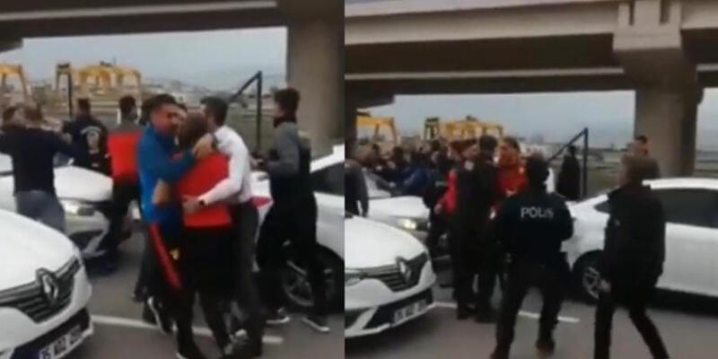 Göztepe'de futbolcular ve taraftarlar arasında arbede