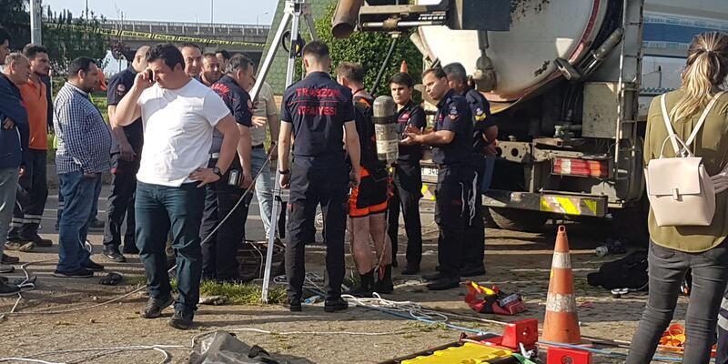 Trabzon'da kanalizasyona düşen işçi hayatını kaybetti