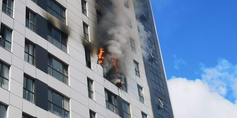 Son dakika... Ümraniye'de 16 katlı binada yangın