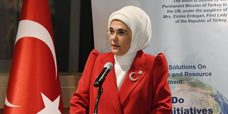 """Emine Erdoğan BM'de Türkiye'nin """"Sıfır Atık"""" tecrübesini anlattı"""