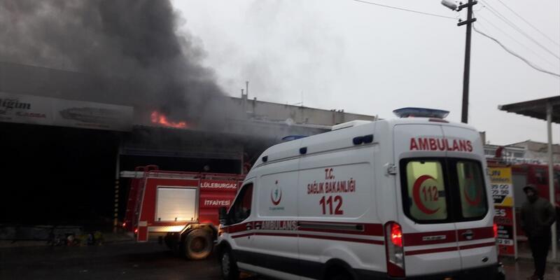 Lüleburgaz'da sanayi sitesinde yangın