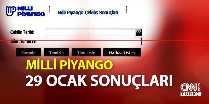 29 Ocak 2020 Milli Piyango sonuçları ve bilet sorgulama mpi.gov.tr'de olacak