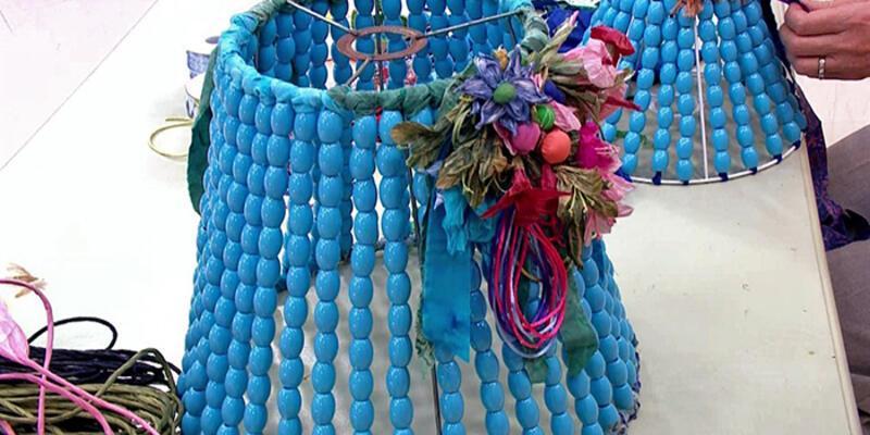 Boncuklu abajur yapımı