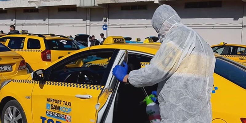 Sabiha Gökçen Havalimanı taksileri dezenfekte edildi