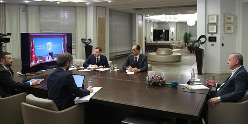 Cumhurbaşkanı Erdoğan, kabine üyeleriyle video konferansta bir araya geldi