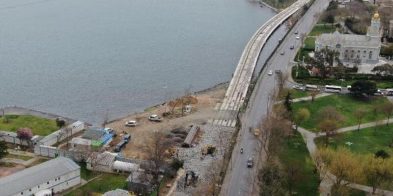 Tramvay inşaat hattının temelinde kayma meydana geldi