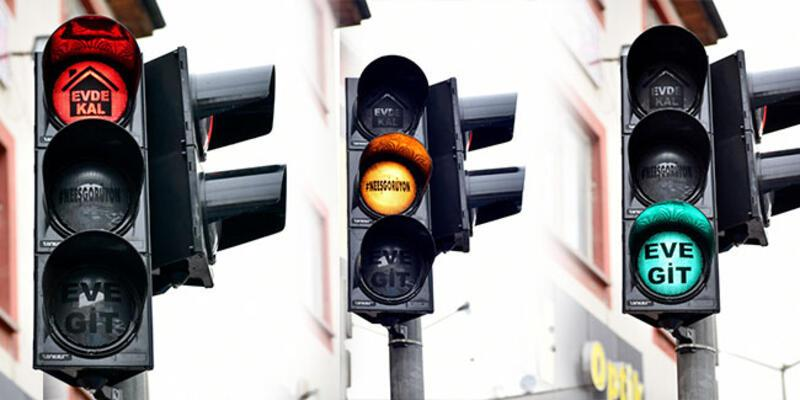 Vatandaşlara trafik ışıklarıyla mesaj