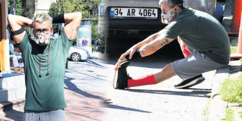 Yunus Günçe bin TL'lik maskesiyle spor yaptı