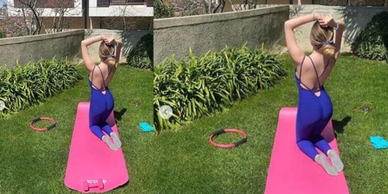 Yasmin Erbil evinin bahçesinde spor yaptı