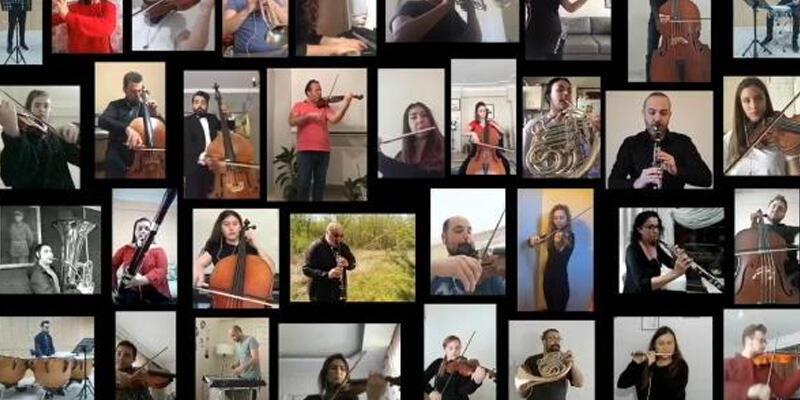 40 müzisyen evlerinde İstiklal Marşı'nı seslendirdi