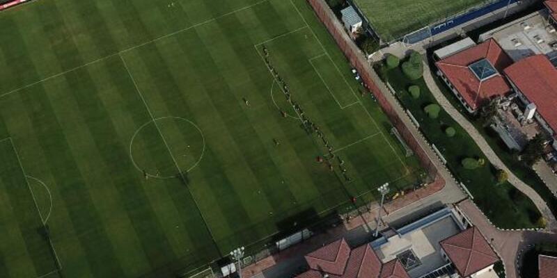 Beşiktaş'ın idmanı havadan görüntülendi