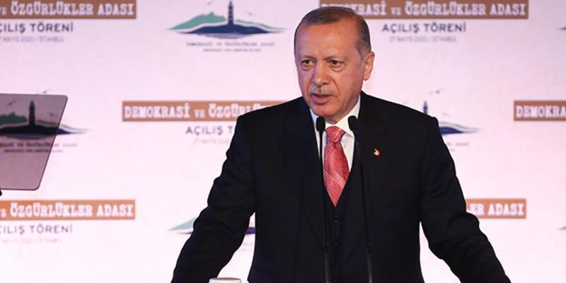 """Cumhurbaşkanı Erdoğan'dan """"Demokrasi ve Özgürlükler Adası"""" paylaşımı"""