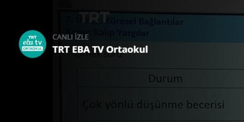 LGS son tekrar her gün TRT EBA TV Ortaokul üzerinden canlı izlenecek!