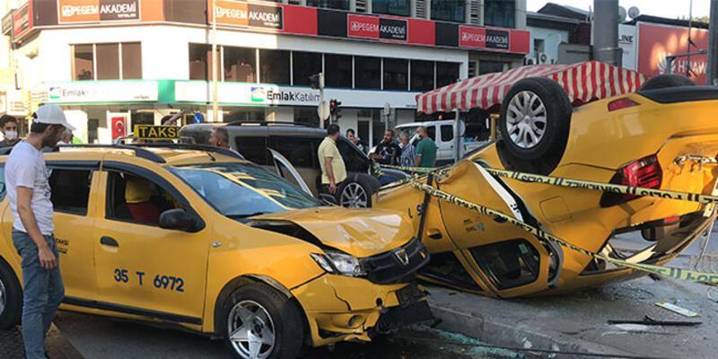 İzmir'de taksilerin feci kazası!