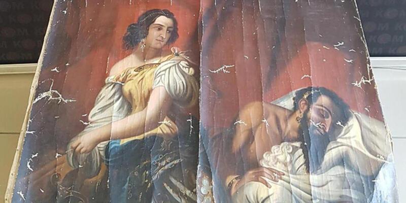 Tokat'ta tarihi eser olduğu değerlendirilen tablo ele geçirildi