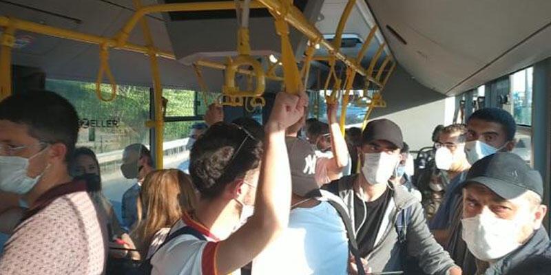 Toplu taşımada sosyal mesafe hiçe sayıldı