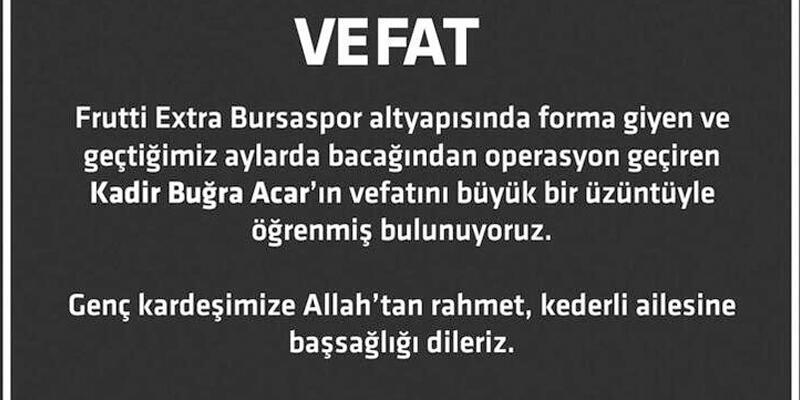 Son dakika... Bursasporlu genç sporcu hayatını kaybetti