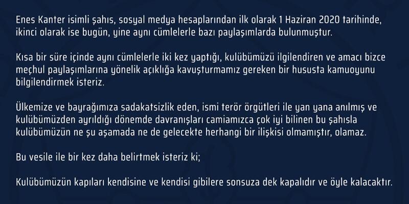 Fenerbahçe'den Enes Kanter açıklaması