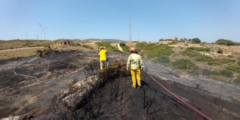 Datça'daki yangında 2 dönüm fundalık alan zarar gördü
