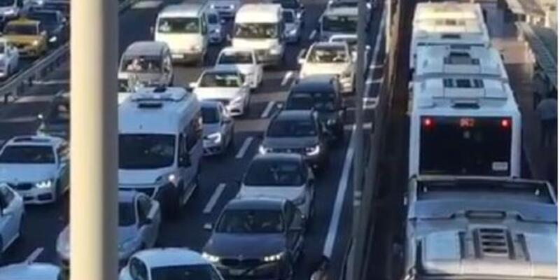 Merter'de D-100 trafiğini durdurdu; Sürücünün kedi kurtarma operasyonu
