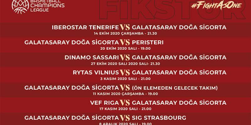 Son dakika... Galatasaray'ın FIBA Şampiyonlar Ligi fikstürü belli oldu