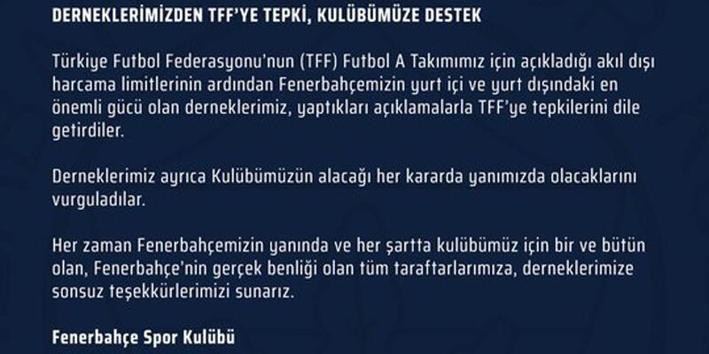Derneklerden Fenerbahçe'ye destek