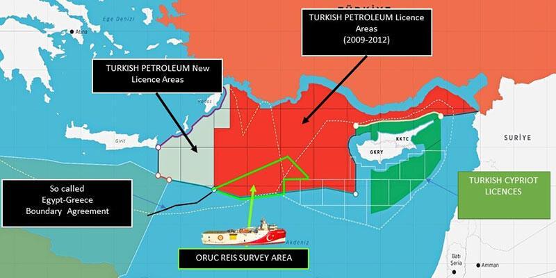 Dışişleri Bakanlığı paylaştı! İşte Oruç Reis'in faaliyet sahasını gösteren harita