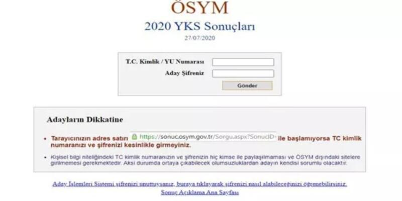 ösym yks sonuçları nasıl öğrenilir? sonuc.osym.gov.tr adresine giriş nasıl yapılır?