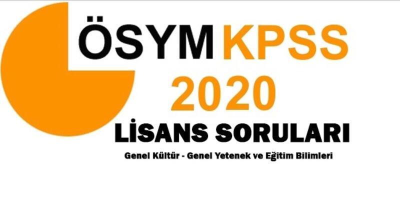 Genel Kültür Genel Yetenek KPSS 2020 lisans soruları ve cevapları ÖSYM AİS sayfasında!