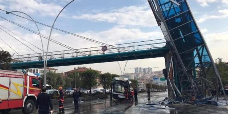 Ankara'da belediye otobüsü üst geçit asansörüne çarptı! Çok sayıda yaralı var