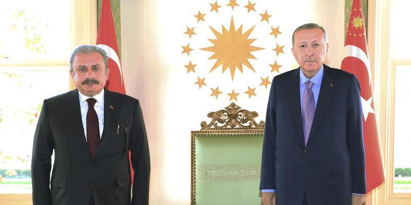 Son dakika... CumhurbaşkanıErdoğan, TBMM Başkanı Şentop'u kabul etti