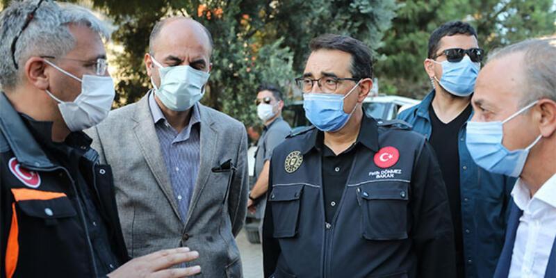 Enerji ve Tabii Kaynaklar Bakanı Dönmez, deprem bölgesinde incelemelerde bulundu